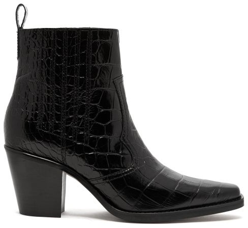 d355ce87687 Crocodile Effect Leather Western Boots - Womens - Black