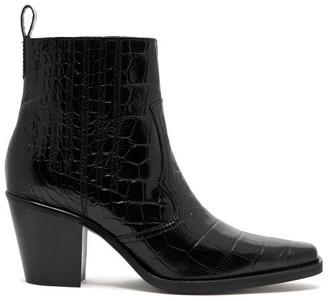 Ganni Crocodile-effect Leather Western Boots - Womens - Black