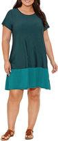 Spense Short Sleeve Stripe Sheath Dress-Plus