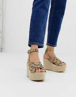 Office Medal snake flatform espadrille wedges