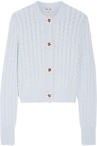 Miu Miu Embellished Cable-knit Cashmere Cardigan - Sky blue