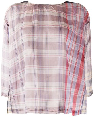 Forte Forte Sheer Check Long-Sleeve Blouse