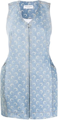 Marine Serre Crescent Print Denim Dress