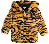 Kenzo Hooded Tiger Printed Faux Fur Coat