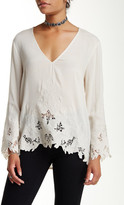 Astr Embroidered Bell Sleeve Blouse