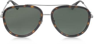 Gucci GG0062S 002 Havana Acetate and Silver Metal Aviator Women's Sunglasses