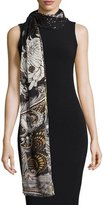 Roberto Cavalli Studded Printed Cashmere Scarf, Black/Gold