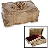 Novica Floral Wood Jewelry Box