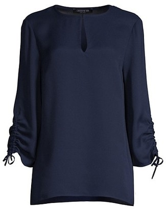 Lafayette 148 New York Jacoby Keyhole Silk Blouse