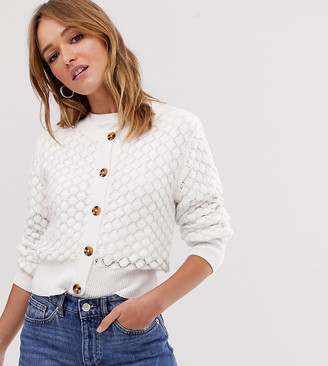 Monki textured knitted button through cardigan in off white