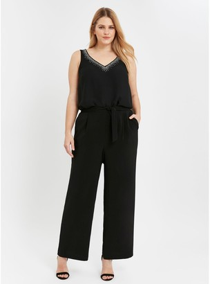 Evans Soft Tie Front Wide Leg Trousers - Black