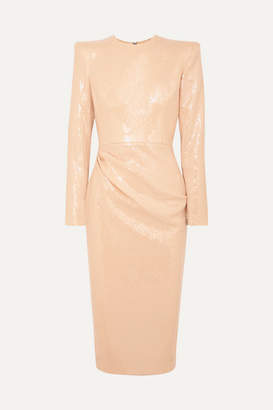 Alex Perry Corbet Gathered Sequined Crepe Midi Dress - Beige