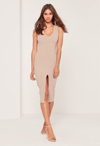 Missguided Petite Exclusive Plunge Front Midi Dress Nude