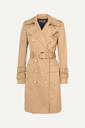 Balmain Button-embellished Cotton-twill Trench Coat - Beige