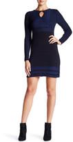 Max Studio Long Sleeve Two-Tone Sweater Shift Dress
