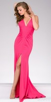 Jovani Ruched High Slit V-neck Prom Dress