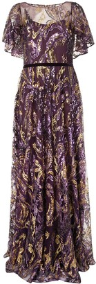 Marchesa Notte Sequin Drape Sleeves Gown