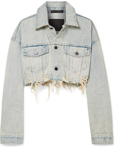 Alexander Wang Blaze Cropped Distressed Denim Jacket - Light denim