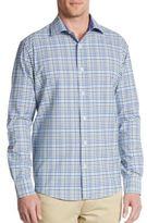 Saks Fifth Avenue BLACK Slim-Fit Multicolored Check Cotton Sportshirt