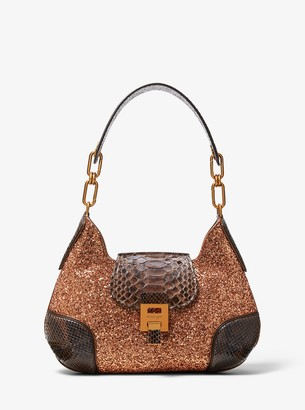 Michael Kors Bancroft Medium Glitter and Python Shoulder Bag