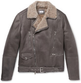 Brunello Cucinelli Belted Shearling Biker Jacket - Brown