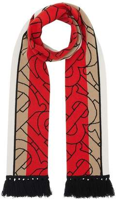 Burberry red and beige cashmere logo scarf