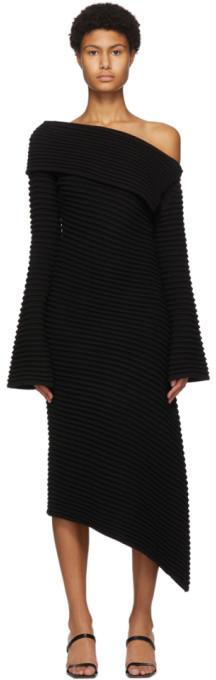DRAE SSENSE Exclusive Black Wool Rib Knit Dress