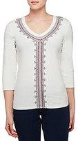 Allison Daley V-Neck Embroidered 3/4 Sleeve Solid Knit Top
