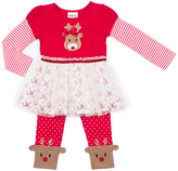 Little Lass Red Reindeer Tulle-Accent Tee & Leggings - Toddler & Girls