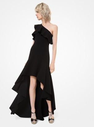Michael Kors Stretch Wool-Crepe Asymmetric Ruffle Gown