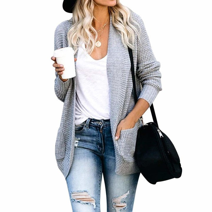 Puimentiua Womens Loose Open Front Cardigan Long Sleeve Casual Lightweight Soft Knit Sweaters Coat with Pockets