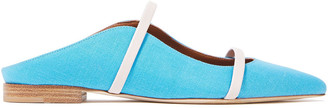 Malone Souliers Maureen Leather-trimmed Linen Mules