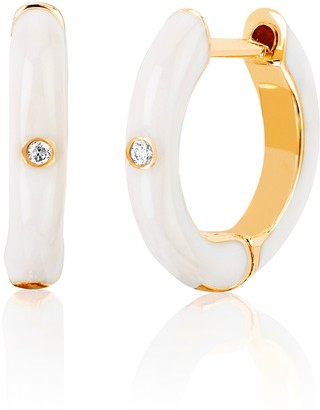 Ef Collection 14ct Yellow Gold And Diamond White Enamel Huggies