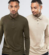 Asos 2 Pack Long Sleeve Jersey Polo Save