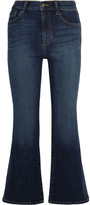 J Brand Carolina Cropped High-rise Flared Jeans - Mid denim