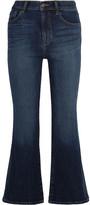 J Brand Carolina Cropped High-rise Flared Jeans - Mid denim