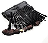 DRQ Professional Makeup Brush Set| Pro Cosmetic-32pc Studio Pro Makeup Make Up Cosmetic Brush Set Kit w/ Leather Case - For Eye Shadow, Blush, Concealer, Etc. (Black)