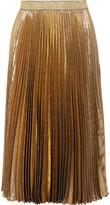 Christopher Kane Pleated Silk-blend Lamé Midi Skirt - Gold
