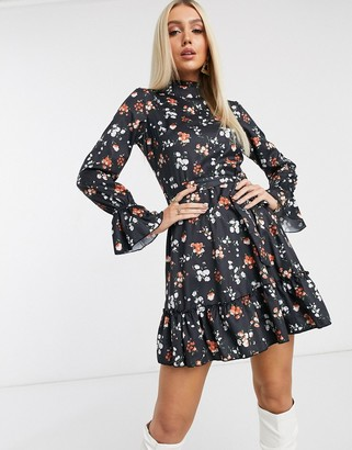 Parisian high neck dress in ditsy floral print