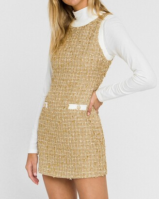 Express Endless Rose Metallic Tweed Mini Dress