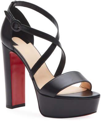 Christian Louboutin Loubi Sleek Leather Red Sole Platform Sandals