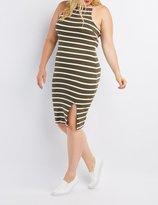Charlotte Russe Plus Size Striped Bib Neck Bodycon Slit Dress