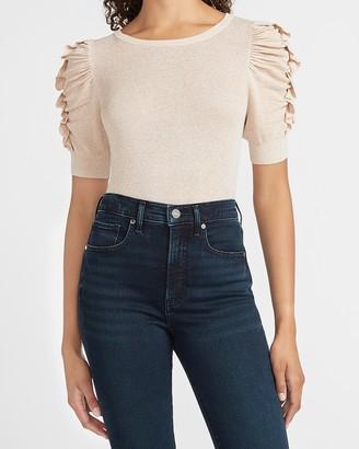 Express Metallic Ribbed Soft Ruffle Sleeve Sweater
