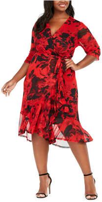 Connected Plus Size Floral Mesh Wrap Dress