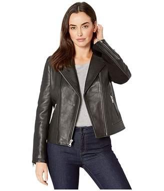 UGG Andee Leather Cycle Jacket (Black) Women's Coat