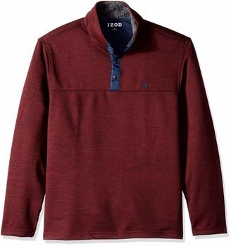 Izod Men's Premium Essentials Spectator Button Mock Neck Fleece Pullover