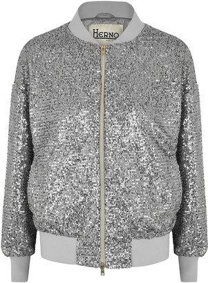 Herno Silver Sequin Bomber Jacket