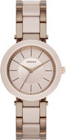 DKNY Stanhope Ceramic and Beige Gold-Tone 3 Hand Watch