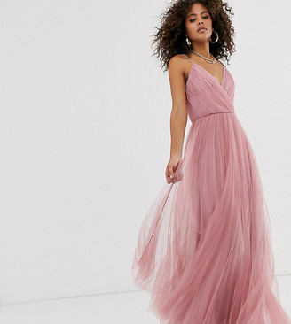 Asos Tall DESIGN Tall cami pleated tulle maxi dress-Pink