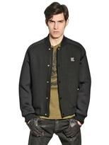 Karl Lagerfeld Wool Bomber Jacket W/ Neoprene Sleeves
